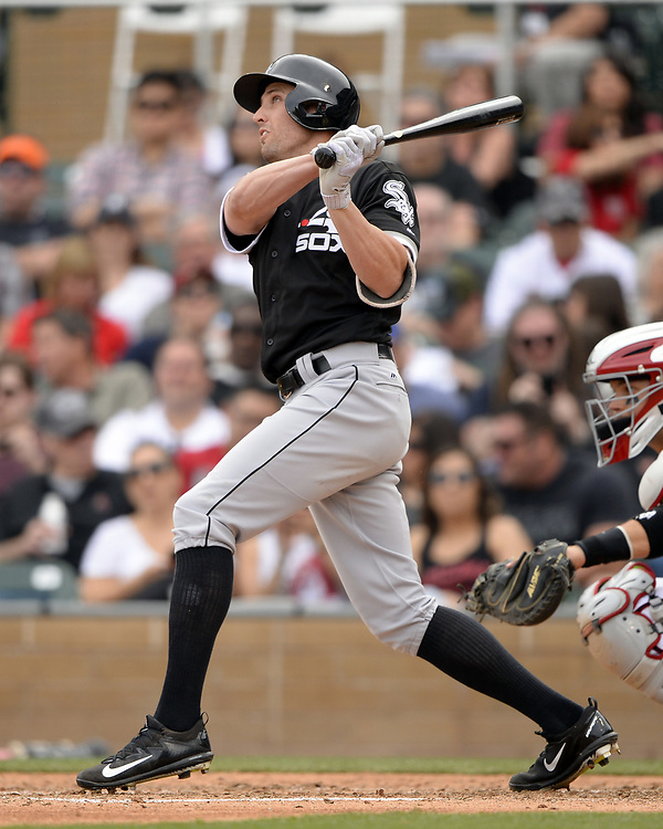 SCOTTSDALE, ARIZONA - MARCH 05:  Peter Bourjos #44 of the Chicago White Sox bats during the spring training game against the Arizona Diamondbacks on March 5, 2017 at Salt River Fields at Talking Stick in Scottsdale, Arizona.  (Photo by Ron Vesely)   Subject:  Peter Bourjos