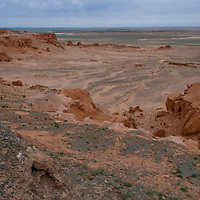 Eroded gullies mark the Flaming Gorge at Bayanzag in Mongolia's Gobi Desert, where famed archaeologist Roy Chapman Andrews first discovered dinosaur eggs in 1922.