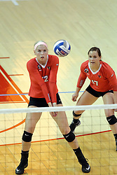 17 October 2015:  Aly Dawson(12) bump passes the ball during an NCAA women's volleyball match between the Southern Illinois Salukis and the Illinois State Redbirds at Redbird Arena in Normal IL (Photo by Alan Look)