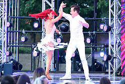 Dianne Buswell (left) and Anton Du Beke during a performance at the red carpet launch of Strictly Come Dancing 2019, held at BBC TV Centre in London, UK.