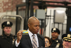 April 12, 2018 - New York City, New York, United States - Brooklyn Borough President Eric Adams with MTA card. NYC Mayor Bill de Blasio joined city & state officials & members of the NYPD in Brooklyn's Barclay's Center MTA station to announce a new initiative to bring community-based policing into New  York City's subway system, which carries some six million riders on an average workday. (Credit Image: © Andy Katz/Pacific Press via ZUMA Wire)