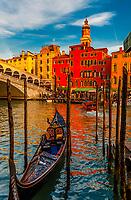 Gondolas, Rialto Bridge, Grand Canal, Venice, Italy.