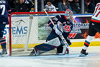 KELOWNA, BC - MARCH 7: Bryan Thomson #30 of the Lethbridge Hurricanes defends the net during third period against the Kelowna Rockets at Prospera Place on March 7, 2020 in Kelowna, Canada. (Photo by Marissa Baecker/Shoot the Breeze)
