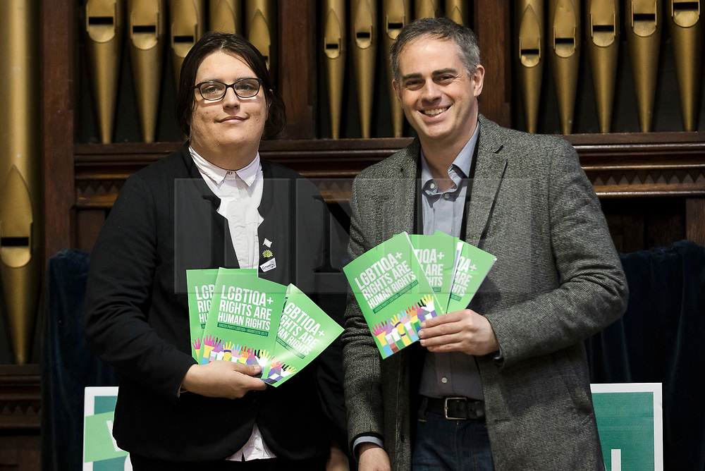 © Licensed to London News Pictures. FILE PICTURE 28/04/2017. LONDON, UK. JONATHAN BARTLEY, Green Party co-leader, and AIMEE CHALLENOR, Green Party LGBTIQA+ spokesperson at the Green Party LGBTIQA+ manifesto launch, at Trinity United Reform Church in London. AIMEE CHALLENOR has resigned form the Green Party after it was revealed that she hired her father, David Challenor, as agent for her Parliament campaign, despite him being charged with child sex offences. Mr Challenor, aged 50, was later convicted for rape and torture of a child and jailed for 22 years. Photo credit: Vickie Flores/LNP