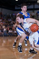 25 June 2011: Zach Miller Bangs into a screen set by David Molinari (Illinois Wesleyan recruit) at the 2011 IBCA (Illinois Basketball Coaches Association) boys all star games.