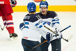 Tuomo Ruutu of Finland and Petri Kontiola of Finland celebrate after scoring first goal for Finland during Ice Hockey match between Finland and Czech Republic at Quarterfinals of 2015 IIHF World Championship, on May 14, 2015 in O2 Arena, Prague, Czech Republic. Photo by Vid Ponikvar / Sportida
