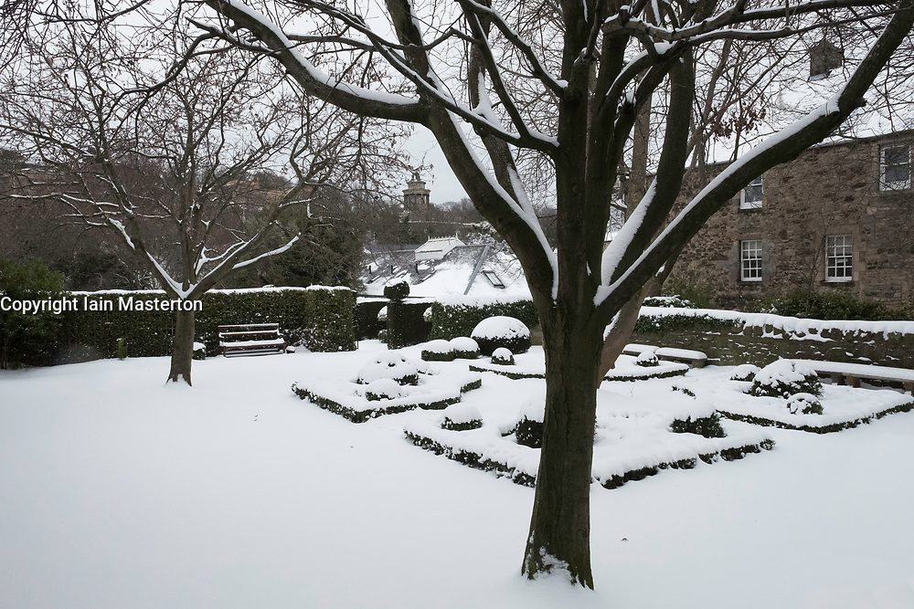 Dunbar's Close Garden off Canongate in Edinburgh Old Town after heavy snow in Edinburgh, Scotland, United Kingdom