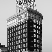 Western Auto Building and sign, black and white. Kansas City, Missouri.