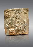 Pictures & images of the North Gate Hittite sculpture stele depicting a Hittite chariot. 8th century BC. Karatepe Aslantas Open-Air Museum (Karatepe-Aslantaş Açık Hava Müzesi), Osmaniye Province, Turkey. Against grey background