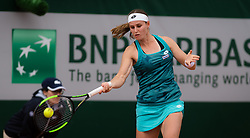May 21, 2019 - Paris, FRANCE - Greet Minnen of Belgium in action during the first qualifications round at the 2019 Roland Garros Grand Slam tennis tournament (Credit Image: © AFP7 via ZUMA Wire)