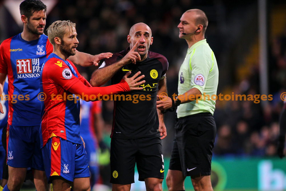Pablo Zabaleta shouts at the linesman after a strong challenge during the Premier League match between Crystal Palace and Manchester City at Selhurst Park in London. Novemeber 19, 2016.<br /> Jack Beard / Telephoto Images<br /> +44 7967 642437
