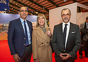 Ambassodor's reception at Holiday World RDS 2019 Friday.<br /> Pic shows Lachen Mahraoui (Ambassador Morocco),<br /> Laura Bernal (Amabassador Argentine Republic) and Cristian Streeter (Ambassador Chile)<br /> Cristian Sat the event today.<br /> Pic Gary Ashe.25/1/2019
