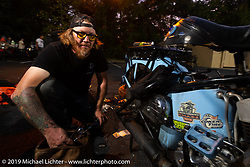CCC event promoter Jason Sims working on his 1946 Harley-Davidson Model U Flathead during the Cross Country Chase motorcycle endurance run from Sault Sainte Marie, MI to Key West, FL. (for vintage bikes from 1930-1948). Stage-6 from Chattanooga, TN to Macon, GA USA covered 258 miles. Wednesday, September 11, 2019. Photography ©2019 Michael Lichter.