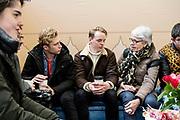 Prinses Laurentien en bekende nederlanders voeren op Valentijnsdag echte gesprekken op station Utrecht Centraal als onderdeel van de actie #echtcontact.<br /> <br /> Op de foto:  Youtuber Petrus (Peter de Harder)