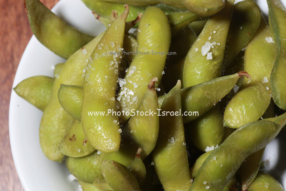 A serving of Edamame (soybeans in the pod) with Coarse salt