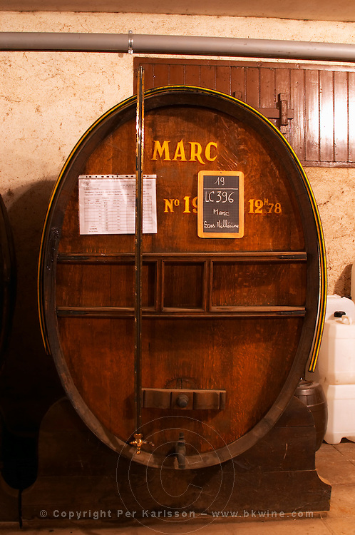 In the Chapoutier winery. The special storage room for spirits, marc, fine, with old wooden barrels and vats. Chapoutier is one of the few who still have the right to distill alcohol. Marc sans millesime - without vintage.  Domaine M Chapoutier, Tain l'Hermitage, Drome Drôme, France Europe