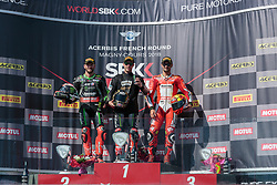 September 29, 2018 - 66, Tom Sykes, GBR, Kawasaki ZX-10RR, 01, Jonathan Rea, GBR, Kawasaki ZX-10RR, Kawasaki Racing Team WorldSBK, 12, Xavi Fores, ESP, Ducati Panigale R, Barni Racing Team, SBK 2018, MOTO - SBK Magny-Cours Grand Prix 2018, Race 1, 2018, Circuit de Nevers Magny-Cours, Acerbis French Round, France ,September 29 2018, action during the SBK Race 1 of the Acerbis French Round on September 29 2018 at Circuit de Nevers Magny-Cours, France (Credit Image: © AFP7 via ZUMA Wire)