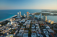 Aerial view looking south of South Beach in the late afternoon.