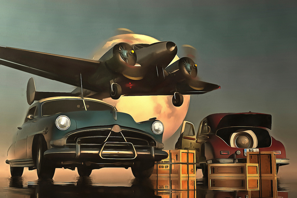 Although not directly based on the classic Humphrey Bogart film, there is definitely something to this piece that makes you think of the famous film Casablanca. It must be the combination of old-timer cars with an airplane that certainly looks as though it swooped in from yesteryear. Bringing these things together for a single acryl on canvas piece, it isn't difficult to be pulled in by the mystery of a fine art example such as this. As we move deeper and deeper into what this piece really means to us, we can find ourselves moving into another era. Available as t-shirts, wall art, or interior décor products. .<br /> <br /> BUY THIS PRINT AT<br /> <br /> FINE ART AMERICA<br /> ENGLISH<br /> https://janke.pixels.com/featured/old-timers-with-airplane-jan-keteleer.html<br /> <br /> <br /> WADM / OH MY PRINTS<br /> DUTCH / FRENCH / GERMAN<br /> https://www.werkaandemuur.nl/nl/shopwerk/Retro---Klassiek-Old-timer-auto-s-met-vertrekkend-vliegtuig/438948/134