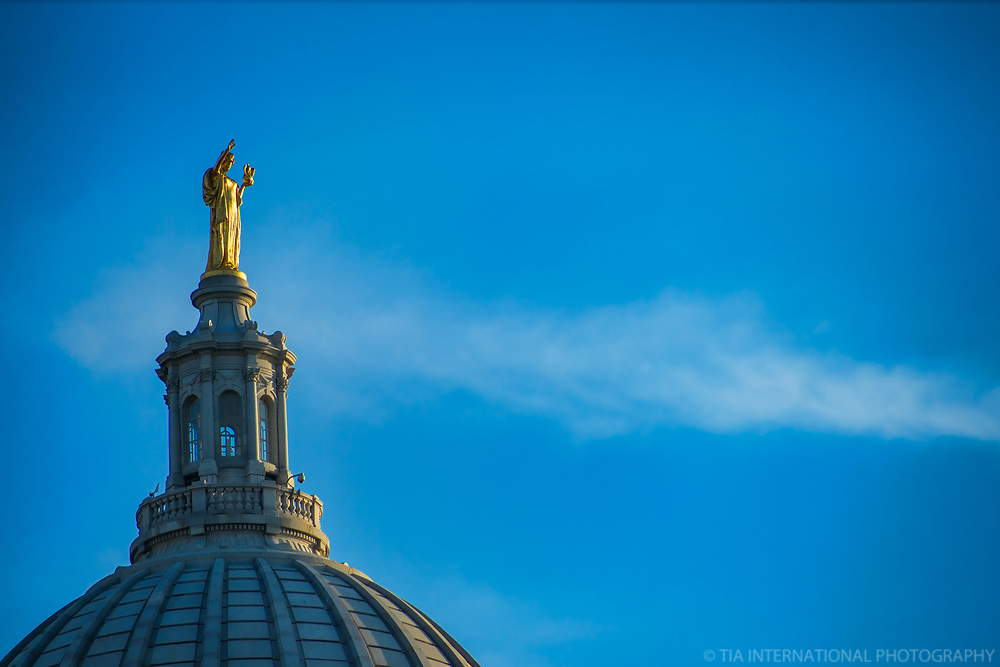 """Statue of """"Wisconsin"""" atop State Capitol (a.k.a. """"Lady Forward"""")"""