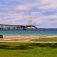 """""""Viewing Mackinac Bridge""""<br /> <br /> What a gorgeous day on the straits of Mackinac to just sit and gaze upon the beautiful Mackinac Bridge and blue waters!!<br /> <br /> Mackinac Bridge by Rachel Cohen"""