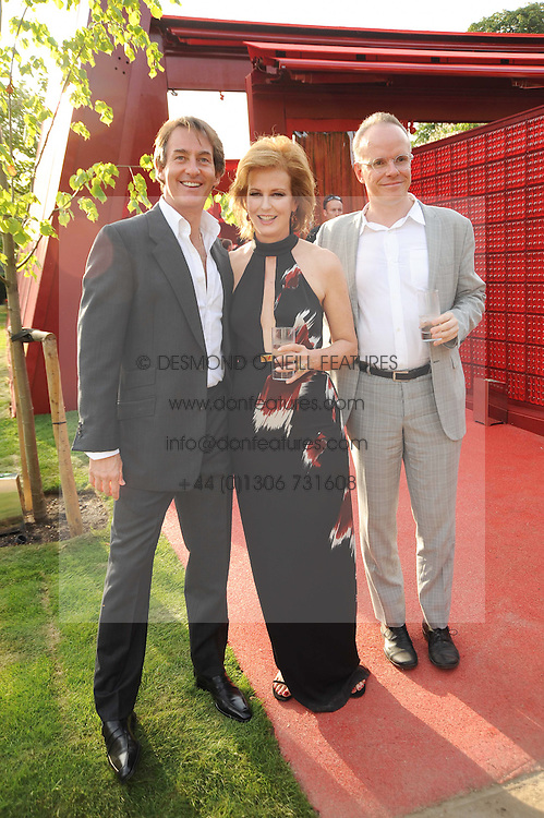 Left to right, TIM JEFFERIES, JULIA PEYTON-JONES and HANS ULRICH OBRIST at the annual Serpentine Gallery Summer party this year sponsored by Jaguar held at the Serpentine Gallery, Kensington Gardens, London on 8th July 2010.  2010 marks the 40th anniversary of the Serpentine Gallery and the 10th Pavilion.