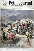Each early Spring, French Breton and Norman deep sea fisherman left home for the cod fisheries off Iceland and Newfoundland.  From 'Le Petit Journal', Paris, 19 March 1894. France, Industry, Fishing, Sailor