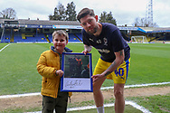 AFC Wimbledon midfielder Anthony Wordsworth (40) with Southend United fan during the EFL Sky Bet League 1 match between Southend United and AFC Wimbledon at Roots Hall, Southend, England on 16 March 2019.