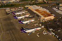 Aerial view of Fed Ex jets at Seattle-Tacoma International Airport, Seattle, Washington USA.