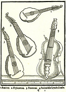 Stringed Instruments. 1: Bandoer, 2: Penorcon,  3: Orpheoreon, forms of Cittern and played with a plectrum. 4:  Lyra da Gamba, bass form of the Lyra, played with a bow. Woodcut from Michael Praetorius 'Syntagma Musicum', 1615-1620.