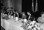 President Reagan Visits Ireland..(formal dinner)..1984.04.06.1984.06.04.1984.4th June 1984..The Banquet for President and Mrs Reagan was held in Dublin Castle,Dame St,Dublin..Photo taken as the President and Mrs Reagan engage the Taoiseach,Garret Fitzgerald and tanaiste,Dick Spring in conversation.