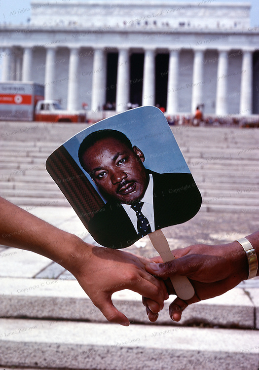 """The 20-year anniversary of Martin Luther King's """"I Have a Dream"""" speech that he gave in August of 1963 drew as many participants.  Demonstrators gathered as before by the Lincoln Memorial to commemorate the march."""