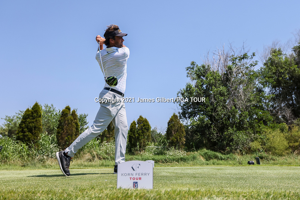 WICHITA, KS - JUNE 20: Curtis Thompson plays his shot from the 18th tee during the final round of the Wichita Open Benefitting KU Wichita Pediatrics at Crestview Country Club on June 20, 2021 in Wichita, Kansas. (Photo by James Gilbert/PGA TOUR via Getty Images)