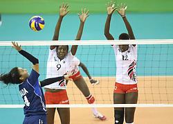Meawad Nada of Egypt Spikes against Beldine Akinyi (L) and Yvonne Wafula Sinaida of Kenya during their U23 Africa Nations Championship at Safaricom Stadium Stadium in Nairobi on October 24, 2016. Egypt won 3-2. Photo/Fredrick Onyango/www.pic-centre.com (KEN)