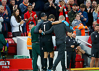 Football - 2019 / 2020 Premier League - Liverpool vs. Norwich City<br /> <br /> Jurgen Klopp manager of Liverpool watches as Alisson Becker of Liverpool goes off injured at Anfield.<br /> <br /> COLORSPORT/LYNNE CAMERON