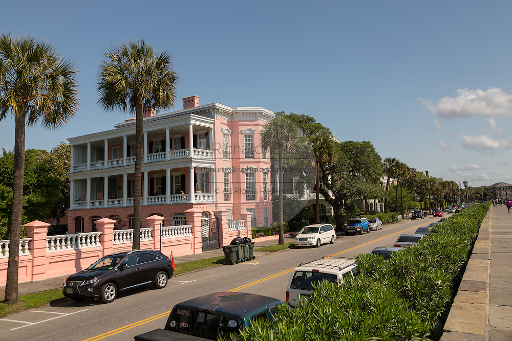 The John Ravenel House also known as the Palmer Inn and view of the Battery in historic Charleston, SC.