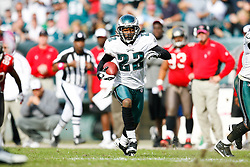 Philadelphia Eagles cornerback Asante Samuel #22 runs the ball after an interception during the NFL game between the Tampa Bay Buccaneers and the Philadelphia Eagles on October 11th 2009. The Eagles won 33-14 at Lincoln Financial Field in Philadelphia, Pennsylvania. (Photo By Brian Garfinkel)