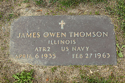 31 August 2017:   Veterans graves in Park Hill Cemetery in eastern McLean County.<br /> <br /> James Owen Thomson  Illinois ATR2 US Navy  April 6 1935  Feb 27 1963