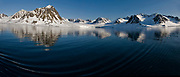 Midnight-sun scenery from Magdalenefjord, western Spitsbergen, Svalbard.