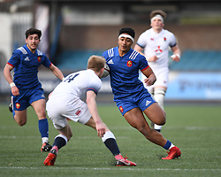 Frances Yoran Faletea Moefana<br /> Photographer Mike Jones/Replay Images<br /> <br /> England U18s v France U18s<br /> Six Nations, Sunday 8th April 2018, <br /> Cardiff Arms Park, Cardiff, <br /> <br /> World Copyright © Replay Images . All rights reserved. info@replayimages.co.uk - http://replayimages.co.uk
