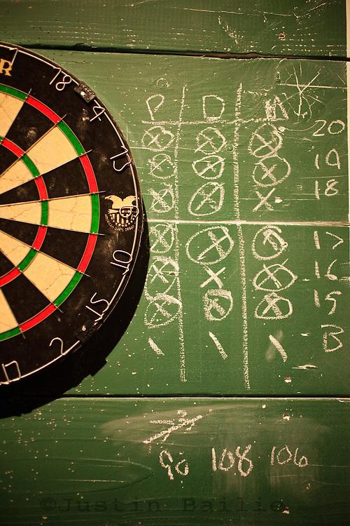 Dart board in bar