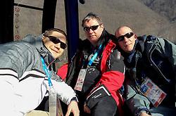 Bostjan Rebersak, Dare Rupar and Uros Volk, journalists of Radio Slovenia at Winter Olympic Games Sochi 2014 on February 6, 2014 in Sochi, Russia. Photo by Sportida