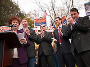 23 JANUARY 2012 - PHOENIX, AZ:     Sen. Sylvia Allen (CQ LEFT), talks about the situation on the border while Ron Gould, Andy Biggs, Steve Smith and Carl Seel applaud for her at the State Capitol Monday, Jan 23. Both sides of the immigration debate congregated on the capitol grounds to protest against and in favor of SB 1070 and other anti immigration bills. At the same time people were protesting, legislators from both sides of the issue held press conferences.   PHOTO BY JACK KURTZ