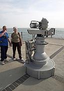 A pretend, joke, fantasy machine called The Quantom Tunnelling Telescope by Tim Hunkin, Southwold pier, Suffolk, England,