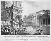 Coronation of Napoleon I, 2 December 1804. Arrival of the Emperor  and the Empress Josephine at Notre Dame, Paris. Engraving.