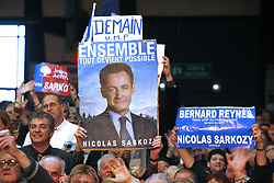 Supporters listening Nicolas Sarkozy, UMP candidate for the presidential elections delivering a speech during his last campaign meeting on May 3rd, 2007 in Montpellier, France. Photo by ABACAPRESS.COM