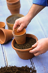 Sowing seed in a pot<br /> Firming down the compost with the base of another pot
