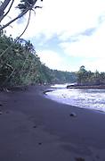 Black sand beach, Island of Savaii, Samoa<br />