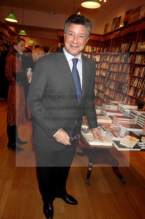 PETER SOROS at a party to celebrate the publication of 'The Umbrella of Faith' by Willie Stirling held at the Daunt Bookshop, Holland Park Road, London W11 on 27th November 2007.<br />