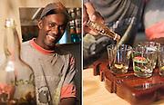 Editorial Travel Photography: Tonton Leon pouring some home made rum near Mount Pelé, Martinique, caribbean island, lesser antilles, France